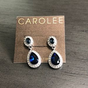 CAROLEE BLUE CLEAR SILVER TONE CRYSTAL EARRINGS